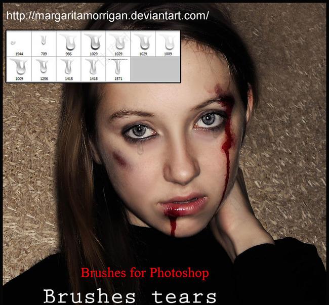 美女伤痕流血效果笔刷