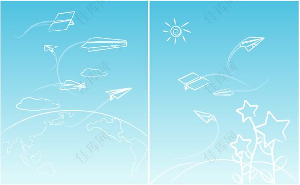 矢量素材纸飞机翱翔蓝天背景