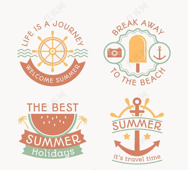 夏季沙滩度假标签