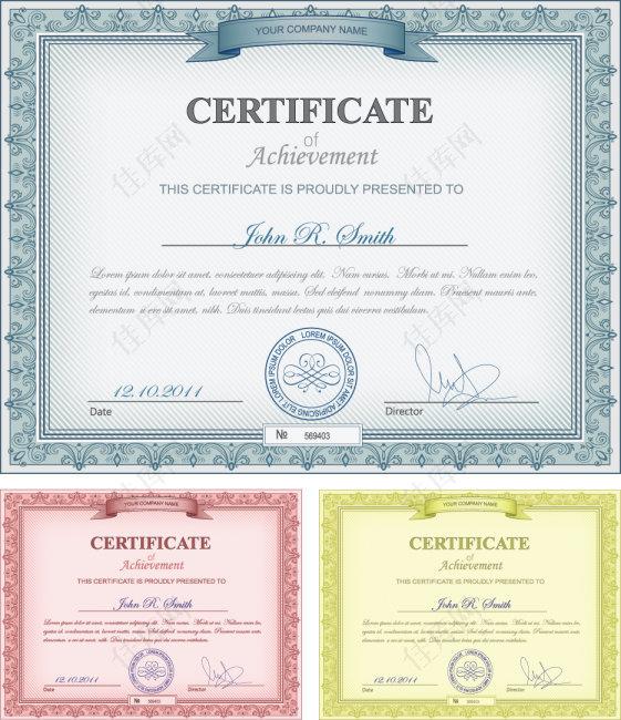 欧式证书矢量素材