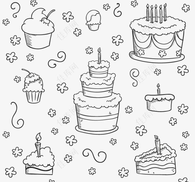 手绘蛋糕元素背景矢量素材下载