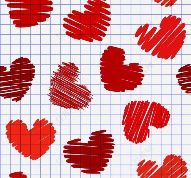 手绘涂鸦爱心红心图片