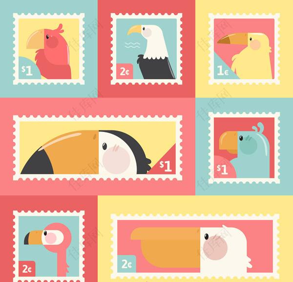 鸟类侧影邮票