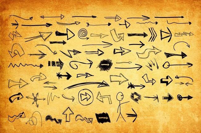创意的手绘涂鸦剪头PS形状