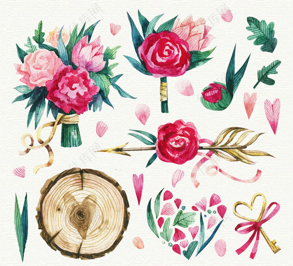 玫瑰花束和木桩