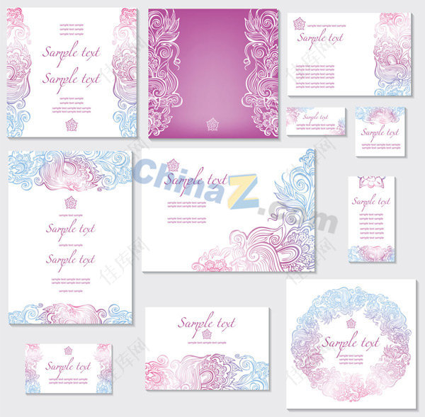 炫彩卡片设计矢量素材炫彩花纹欧式