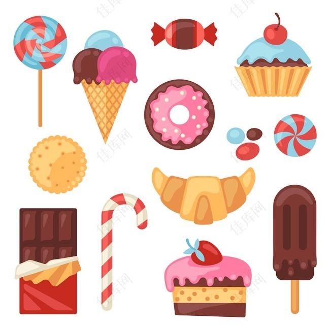 手绘彩绘矢量甜品糖果