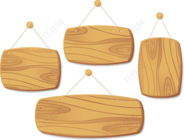 精美木板吊牌矢量素材
