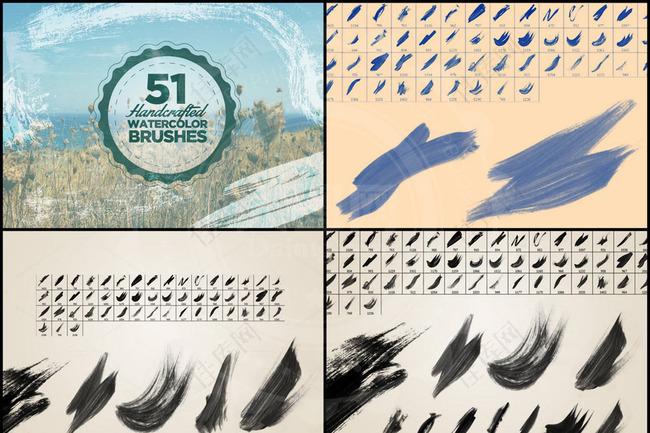 51款高清晰中国风涂抹墨迹笔刷