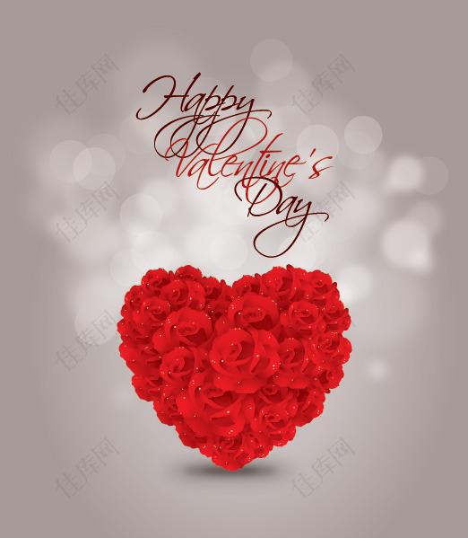 情人节玫瑰的心形矢量素材