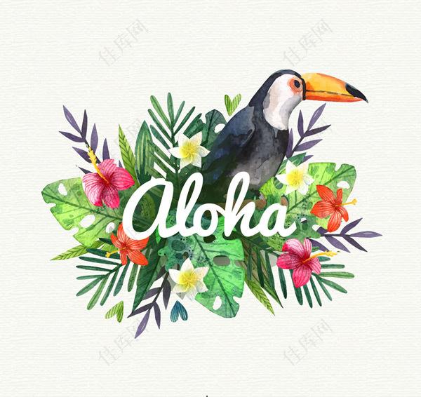 夏威夷大嘴鸟和花