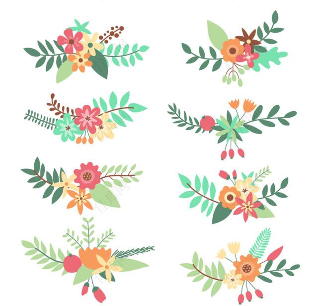 枝条花花束叶子卡通花朵时尚扁平化