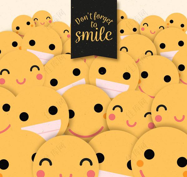 黄色笑脸背景矢量