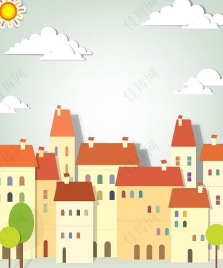 剪纸建筑 矢量城市图片