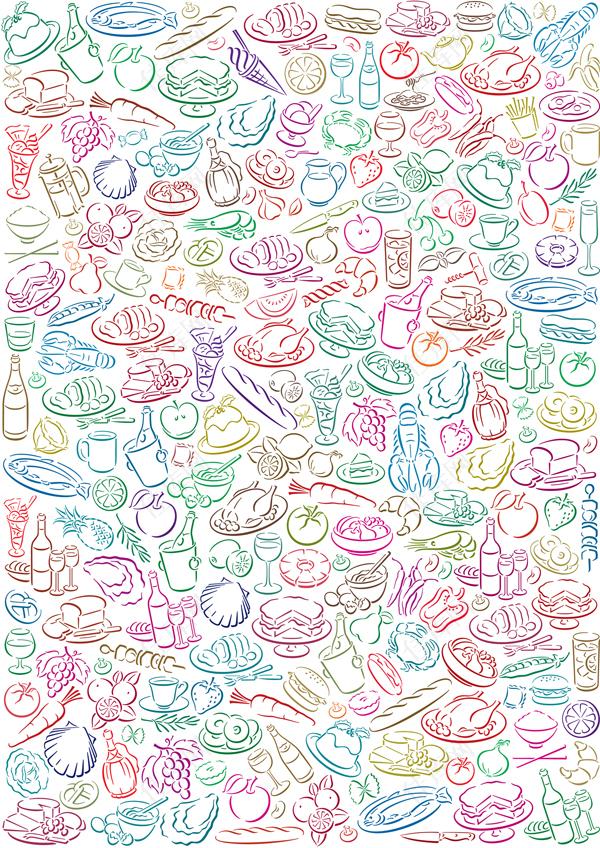 可爱饮食背景矢量素材