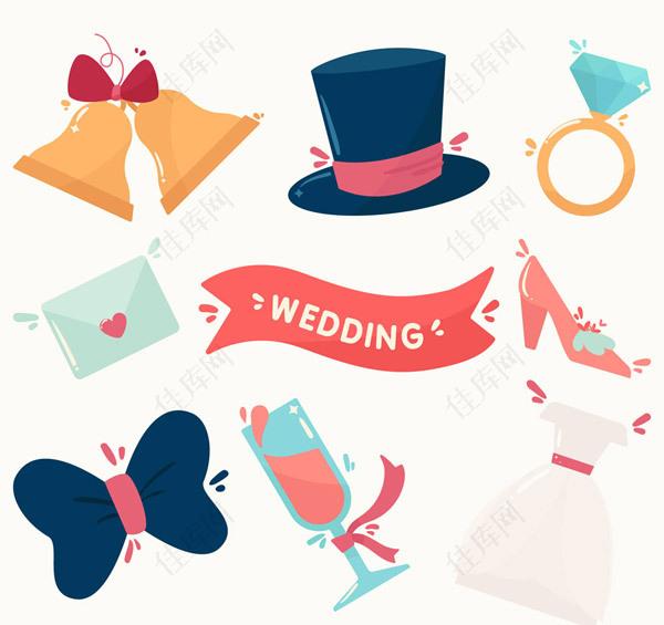 卡通婚礼元素矢量