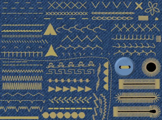 缝线和纽扣笔刷