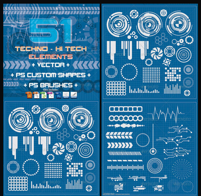 多款科技形状PS笔刷